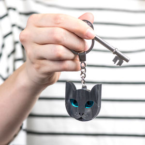 Grey Cat Keyring