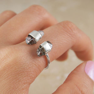 Adjustable Silver Double Herkimer Diamond Ring - rings