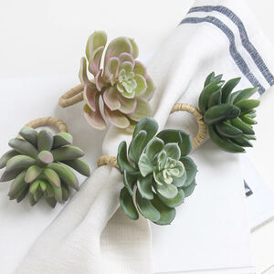 Four Succulent Napkin Rings