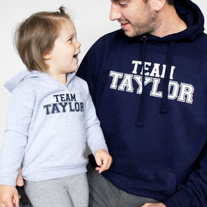 'Team Surname' Father And Child Hoodie Set - sweatshirts & hoodies