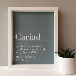 Personalised 'Cariad' Wedding Print - typography