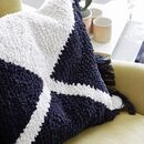 Black And White Wool Fringed Cushion