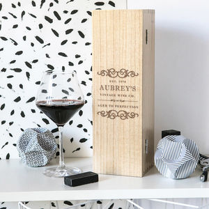 Personalised Vintage Style Wine Gift Box - drink & barware