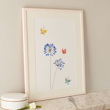 Agapanthus And Butterflies Art Print