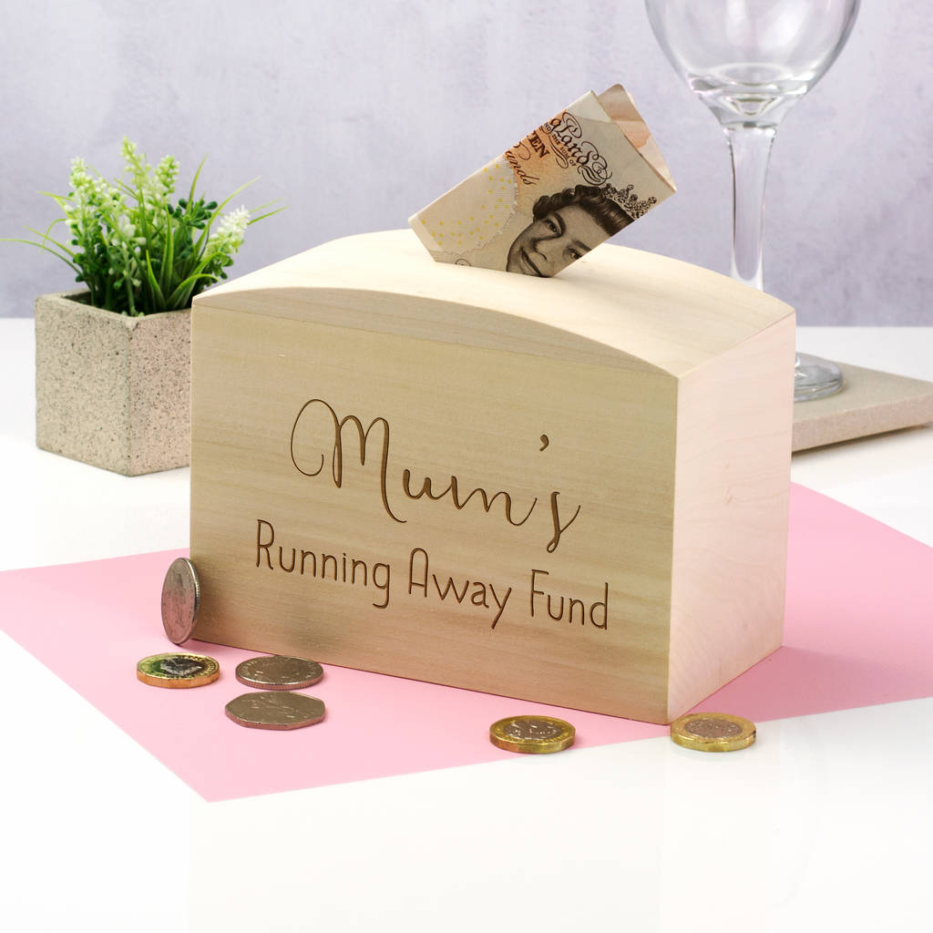 wedding thank you note for gift of money%0A Personalised Running Away Fund Money Box