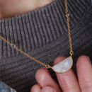 Moonstone Crescent Necklace With Sapphire Gemstones