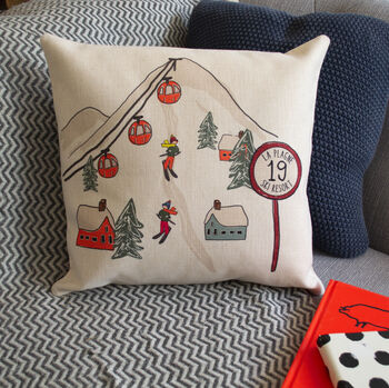 Personalised Ski Scene Cushion