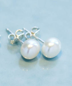 Freshwater Pearl And Sterling Silver Stud Earrings - earrings