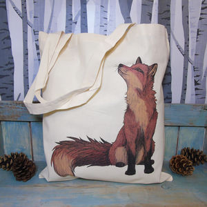 Fox Illustration Eco Tote Bag - bags