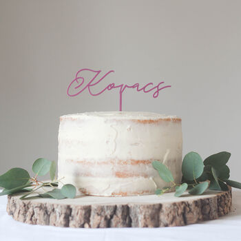 Personalised Surname Simple Wedding Cake Topper