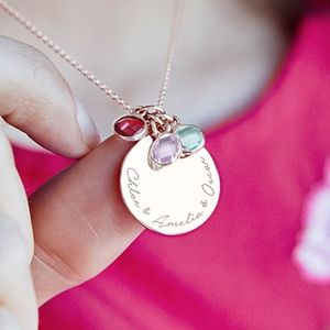 Personalised Family Birthstone Disc Necklace
