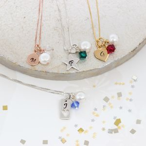 Personalised Birthstone Crystal And Charm Necklace