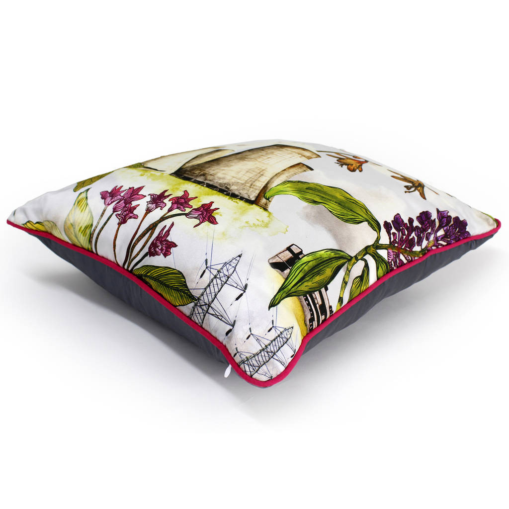Flowers And Cooling Towers Print Silk Cushion