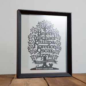 Family Tree Papercut With Motto - top 50 personalised art prints