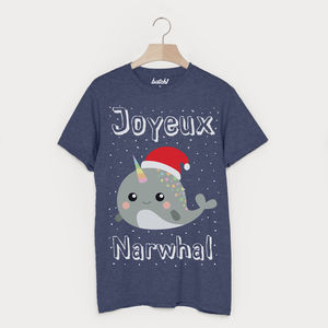 Joyeux Narwhal Men's Christmas T Shirt