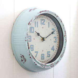 Industrial Columbia Blue Round Wall Clock - home accessories