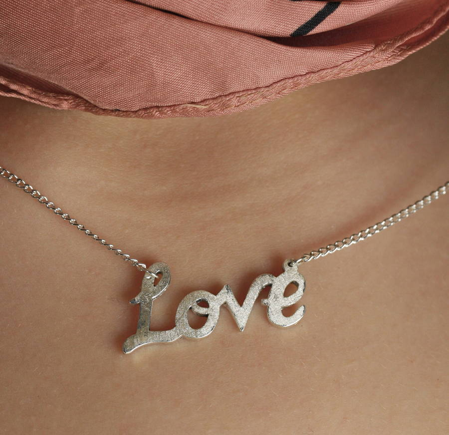 cursive silver necklace gift word yhst beautiful bsicuwonegi