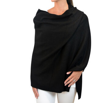 Personalised Black Pure Cashmere Travel Wrap Shawl
