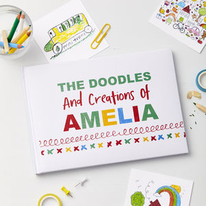 Child's Personalised Doodle Drawing Book - scrapbooks & sketchbooks