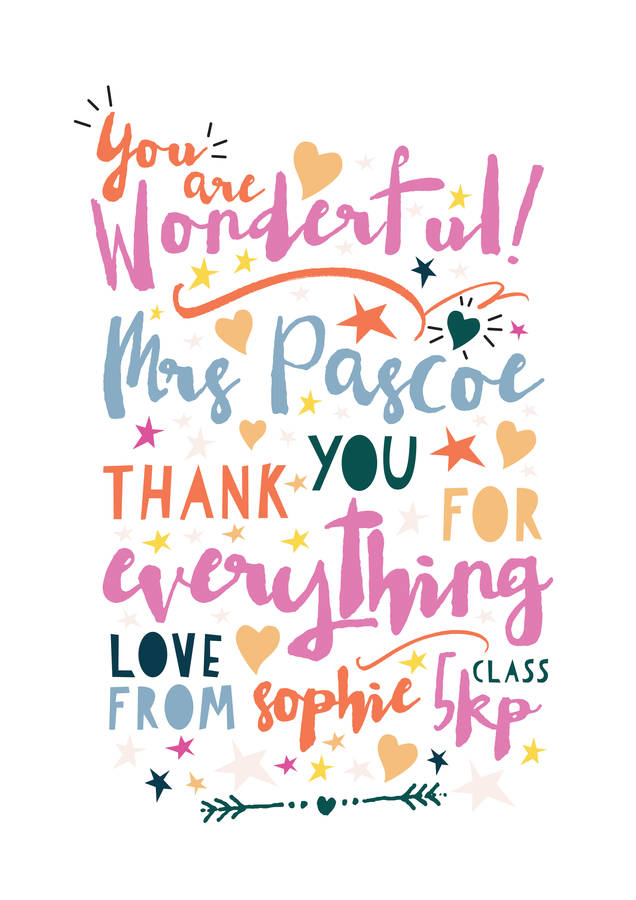 you are wonderful thank you teacher print by rocks design ...