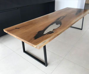 "Slab And Resin ""Glacier"" Dining Table - dining tables"
