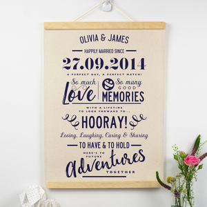 Personalised Cotton Anniversary Print - typography