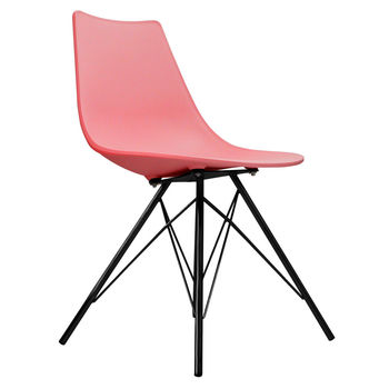 Oslo Chair Pink With Black Metal Legs