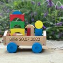 Personalised Pull Along With Wooden Blocks