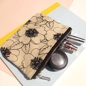 Flower Handmade Leather Make Up Bag