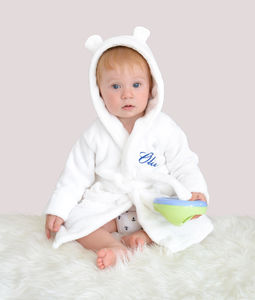 Personalised White Fleece Baby Robe