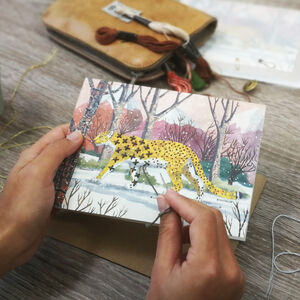 Embroider Me Snow Leopard Greeting Card