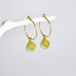 Aqua Birthstone Gold Hoop Earrings