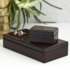 Leather Personalised Cufflink Box - bedroom