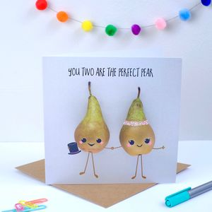 Perfect Pear Wedding Card Male And Female