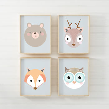 Set Of Four Woodland Children's Nursery Prints