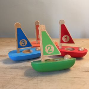 Set Of Four Wooden Toy Sailing Boats - baby care