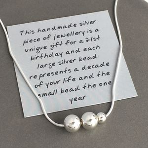 21st Birthday Handmade Silver Bead Necklace - necklaces & pendants