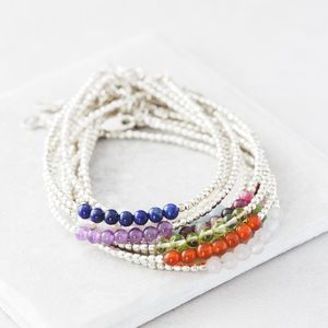 Silver Birthstone Bracelets With Semi Precious Stones - jewellery sale