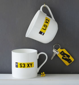 Personalised Number Plate Bone China Cup Or Mug - cups & saucers