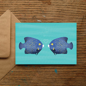 French Angelfish Kiss Love Card - winter sale
