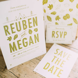 Woodlands Summer Camp Wedding Stationery Collection - invitations