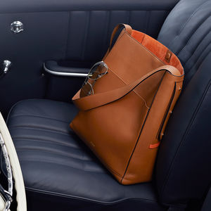 Luxury Tan Leather Travel Tote With Suede Lining