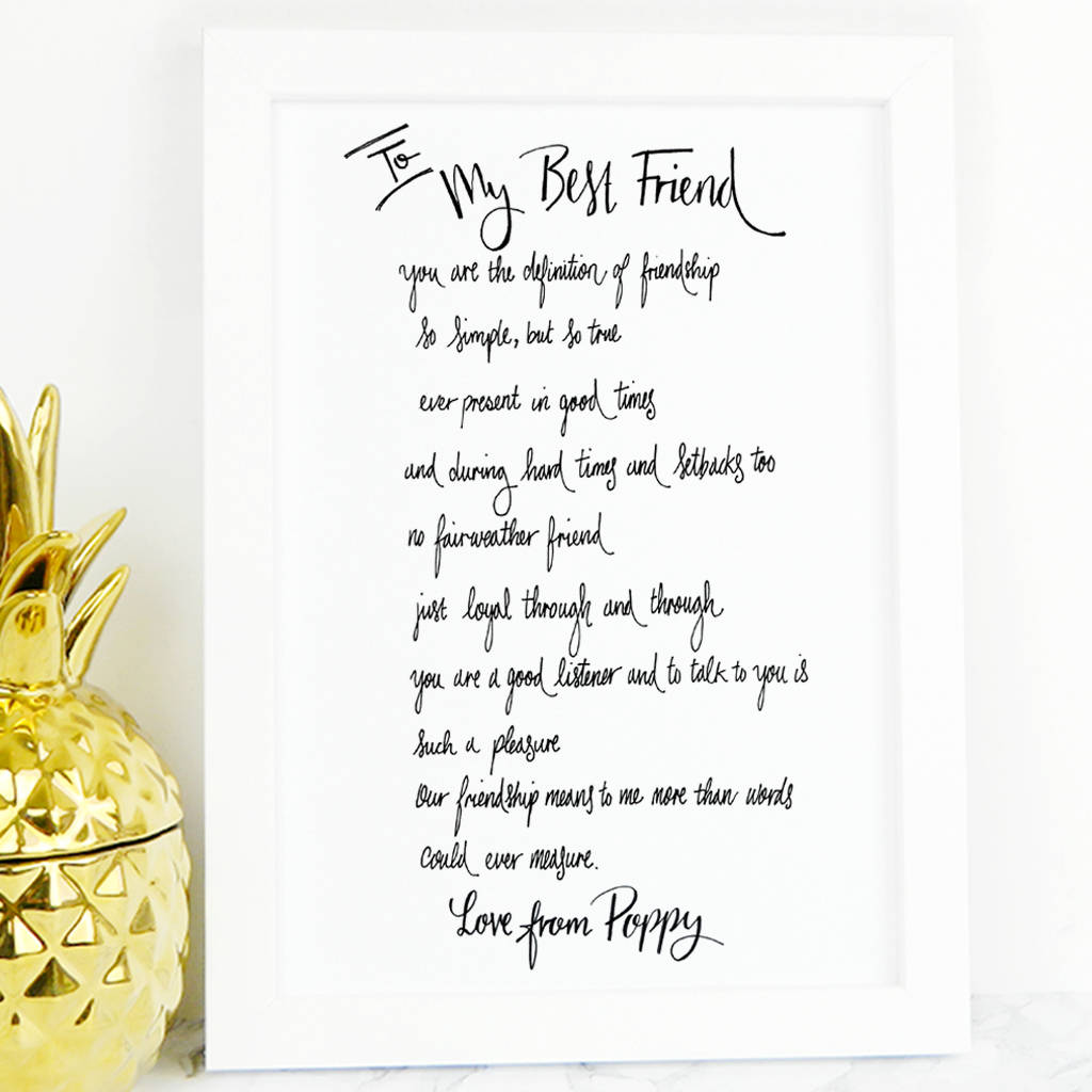 best friend poem gift by de fraine design london ...