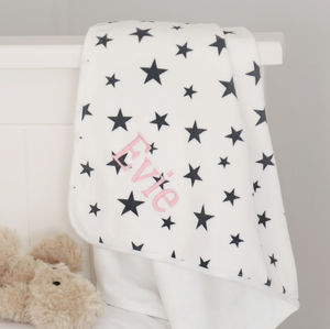 Cream And Grey Star Velvet Feel Blanket - baby's room