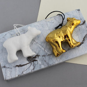 Hanging Gold Porcelain Polar Bear Decoration