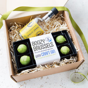 Craft Gin And Chocolate Sprouts Christmas Gift Set - chocolates & confectionery