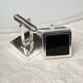 Whitby Jet Sterling Silver Cufflinks