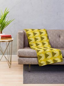 Retro Mustard And Khaki Geometric Throw