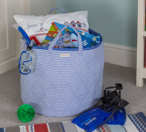 Blue Gingham Toy Storage Basket - storage baskets