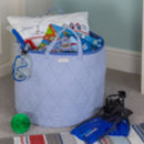 Blue Gingham Toy Storage Basket